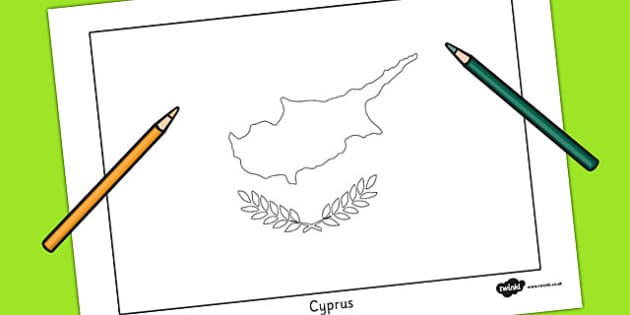 Cyprus Flag Colouring Sheet - geography, countries, colour