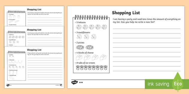 Shopping List Activity Sheets - Year 1, Maths Mastery, Multiplication, multiply, times, lots of, times tables, Worksheets, double, d