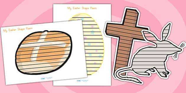 Easter Shaped Poetry - easter, poem, poetry, shape poetry, poems