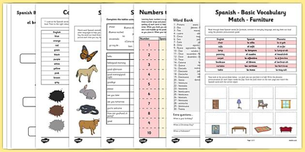 Learn Spanish Worksheet Starter Pack - learn, spanish, worksheet, starter pack