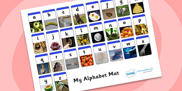 A-Z Photo Alphabet Mat- alphabet, alphabet mat, alphabet photos, photo mat, A-Z, alphabet photographs, photographs, word pictures