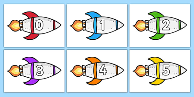 Calendar Numbers 0-31 on Rockets (Landscape) - Calendar, Foundation Numeracy, Numbers, 0-31, A4, display, birthday, rocket, rockets, space, ship, alien, launch, moon, stars, planet, planets