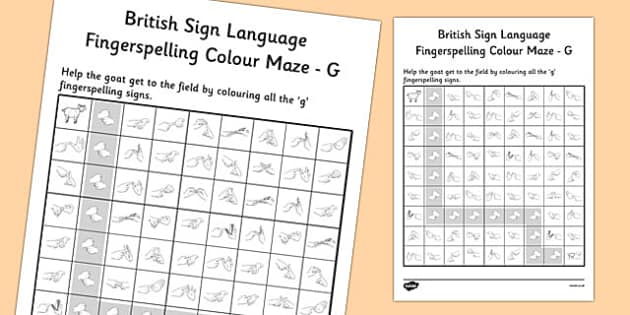 British Sign Language Fingerspelling Colour Maze G - colour, maze