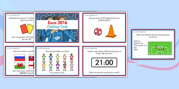 Euro 2016 Maths Challenge Cards KS1 - euro 2016, football, maths challenge, challenge cards, ks1