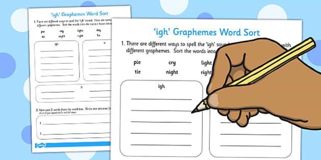 igh Graphemes Word Sort Worksheet - graphemes, word, sort, igh, words