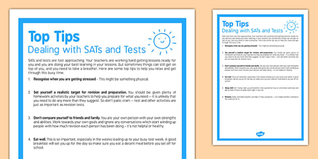 Top Tips Dealing With SATs and Tests - top tips, dealing with sats, dealing with tests