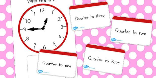 Analogue Clocks Quarter To Matching - australia, quarter, match