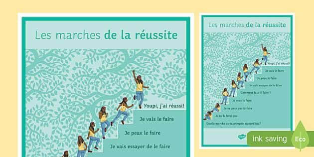 Les marches de la réussite - french, Inspirational, Motivational, Inspiration, Motivation, Success, steps, poster, display