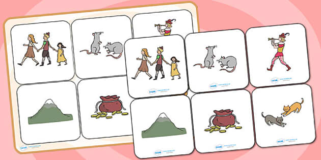 The Pied Piper Matching Cards and Board - the pied piper, the pied piper picture matching game, the pied piper matching activity, traditional tales, sen