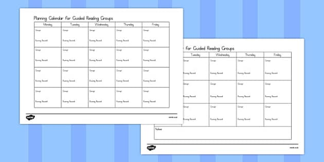Guided Reading Planning Calendar - australia, guided reading