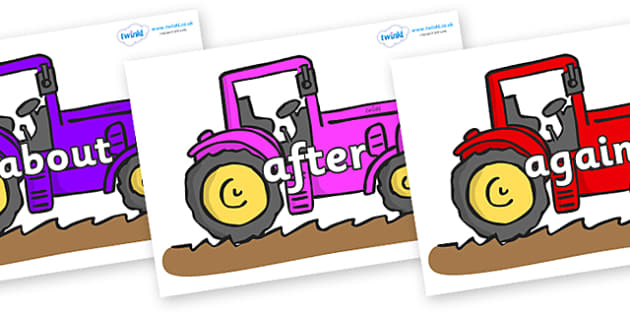 KS1 Keywords on Tractors - KS1, CLL, Communication language and literacy, Display, Key words, high frequency words, foundation stage literacy, DfES Letters and Sounds, Letters and Sounds, spelling