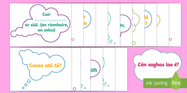 Useful Irish Morning Phrases Display Pack - early morning phrases, classroom routine, irish language, gaelige, registration,Irish