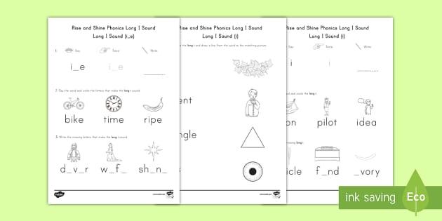 Rise and Shine Phonics Long I Sound Morning Activity Sheets - long vowels, long i, morning work, phonics, worksheets