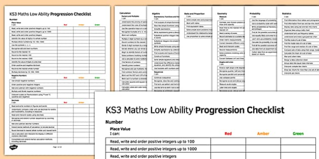 KS3 Maths Low Ability Progression Checklist - KS3, Maths, assessment, self assessment, RAG, new curriculum, SEN, MLD, low ability