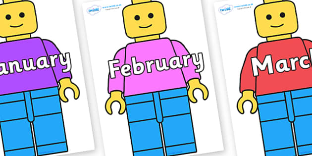 Months of the Year on Building Brick Man - Months of the Year, Months poster, Months display, display, poster, frieze, Months, month, January, February, March, April, May, June, July, August, September