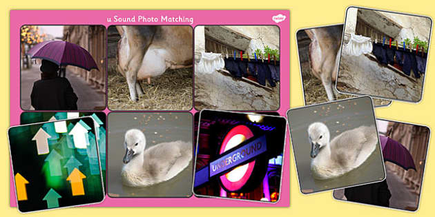 Initial u Sound Photo Matching Board and Cards - sounds, phonics