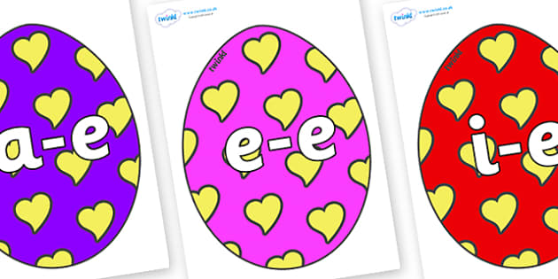 Modifying E Letters on Easter Eggs (Hearts) - Modifying E, letters, modify, Phase 5, Phase five, alternative spellings for phonemes, DfES letters and Sounds