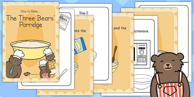 The Three Bears Porridge Recipe Cards - recipe, three bears