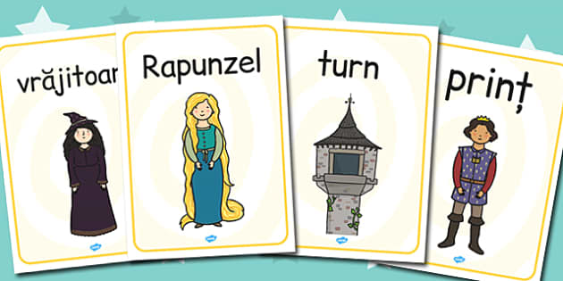 Rapunzel, Cuvinte principale ilustrate, Planse imagini si cuvinte, Romanian