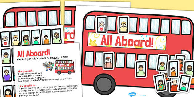 Multiplayer Bus Addition and Subtraction Activity to 20 - add, counting, number, addition, subtraction, bus, numeracy, counting, addition, subtraction, transport