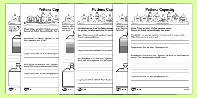 KS1 Potions Capacity Activity - problem solving, find all possibilities