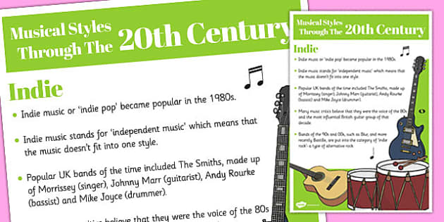 Musical Styles Through the 20th Century: Indie Information Poster