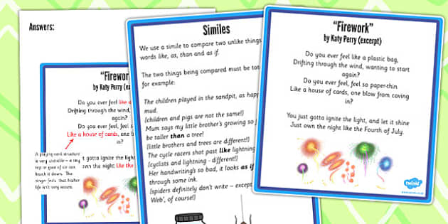 Y5 6 Figurative Language Activity and Reference Sheet Simile