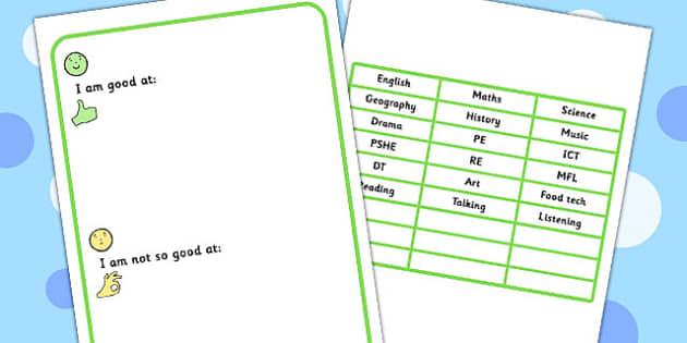 I Am Good At I Am Not So Good At Worksheet - SEN, SEN worksheets