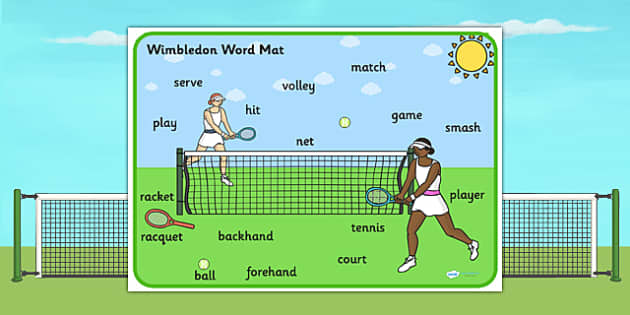 Wimbledon Themed Scene Word Mat - sports, pe, tennis, keywords