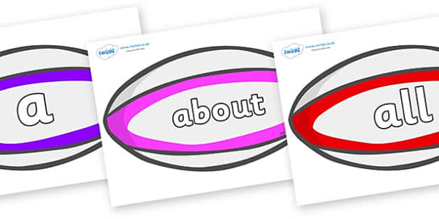 100 High Frequency Words on Rugby Balls - High frequency words, hfw, DfES Letters and Sounds, Letters and Sounds, display words