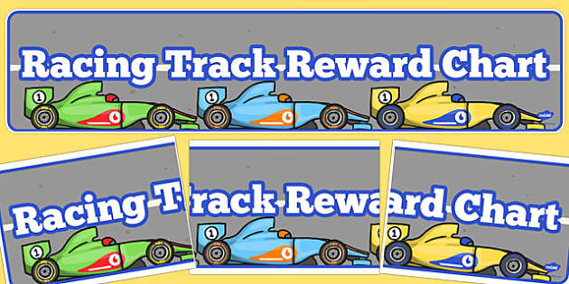Racing Track Reward Chart Display Banner - racing track, display