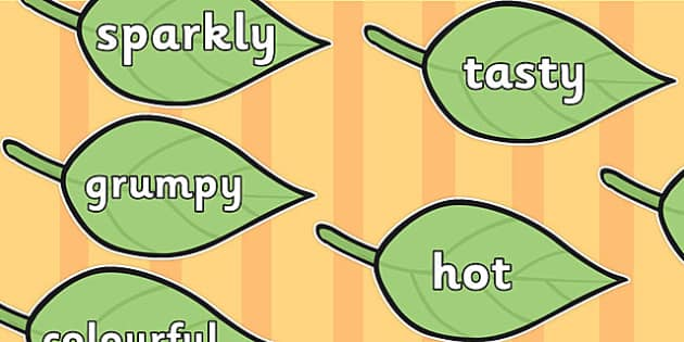 Wow Words on Green Leaves - Wow words, adjectives, VCOP, describing, Wow, display, poster, wow display, tasty, scary, ugly, beautiful, colourful sharp, bouncy