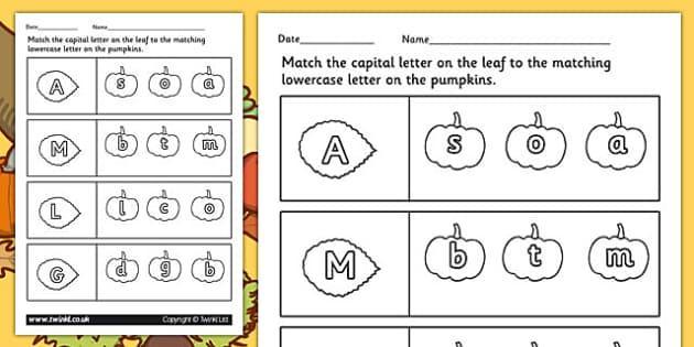 Autumn Themed Capital Letter Matching Worksheet - seasons, letter