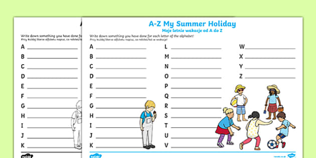 A-Z My Summer Holiday Writing Frame Polish Translation-Polish-translation