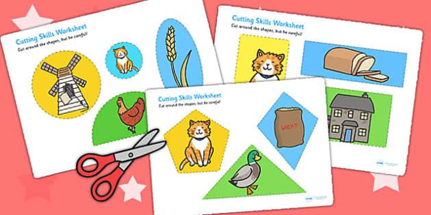 The Little Red Hen Themed Cutting Skills Worksheet - motor skills