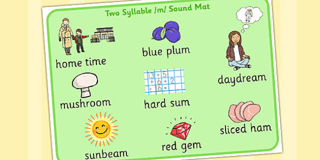 Two Syllable Final M Sound Word Mat - final m, sound, word mat