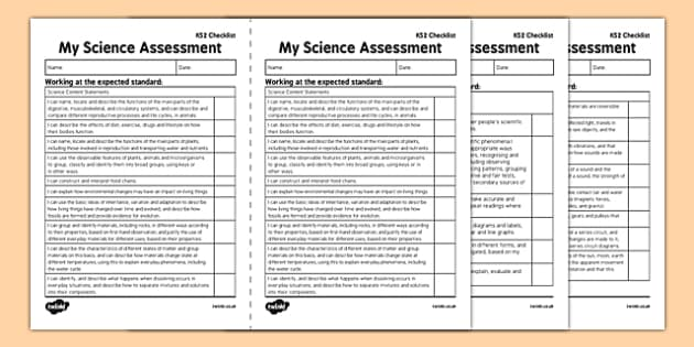 KS2 Science Exemplification -  I Can Statements  Checklist