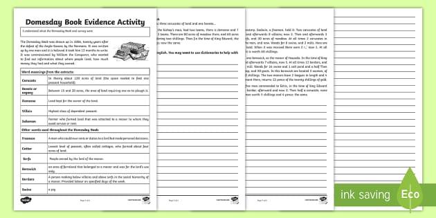 Domesday Book Evidence Activity - domesday book, evidence, activity, domesday, book