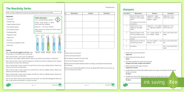 Reactivity Series Investigation Instruction Sheet Print-Out - Investigation Help Sheet, science practical, method, instructions, displacement, reactivity series,