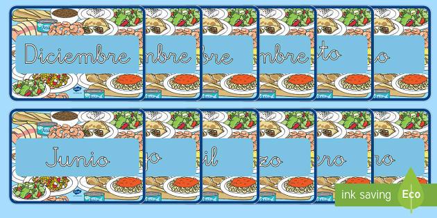 Meses del año de exposición: La comida - calendario, comer, dieta, alimentación, sano, saludable, equilibrado,Spanish