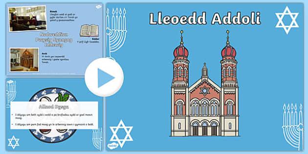 Pŵerbwynt CA1 Lleoedd Addoli Synagogau Iddewig PowerPoint-Welsh
