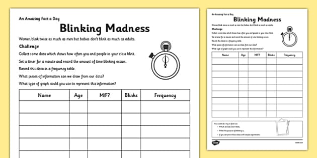 Blinking Madness Activity Sheet - blinking, data handling, collection, fact of the day, activity, worksheet