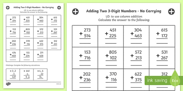 Adding Two 3 Digit Numbers in a Column Worksheet Year 3 – Column Addition Year 3 Worksheets
