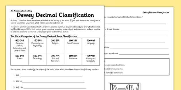 Dewey Decimal Code Activity Sheet dewey decimal code book – Dewey Decimal Worksheet