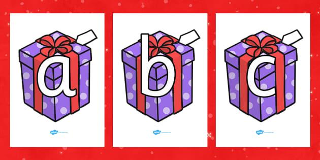A-Z Alphabet on Christmas Presents - Christmas, xmas, present, presents, advent, nativity, santa, father christmas, Jesus, tree, stocking, present, activity, cracker, angel, snowman, advent , bauble, A-Z,  Alphabet frieze, Display letters, Letter pos