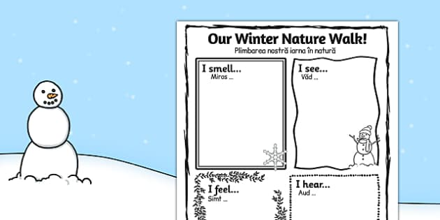Our Winter Nature Walk Writing Frame Romanian Translation - romanian, winter, nature walk, our winter, writing, frame