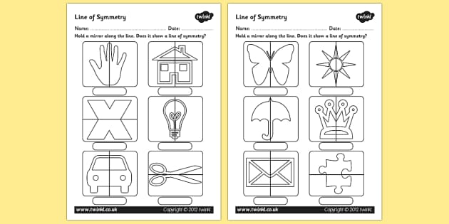 Line of Symmetry Worksheet - symmetry, lines of symmetry, symmetrical lines, symmetrical images, mirror symmetry, mirror activity, symmetry with mirrors activity, ks2