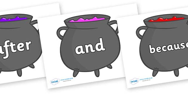 Connectives on Cauldrons (Plain) - Connectives, VCOP, connective resources, connectives display words, connective displays