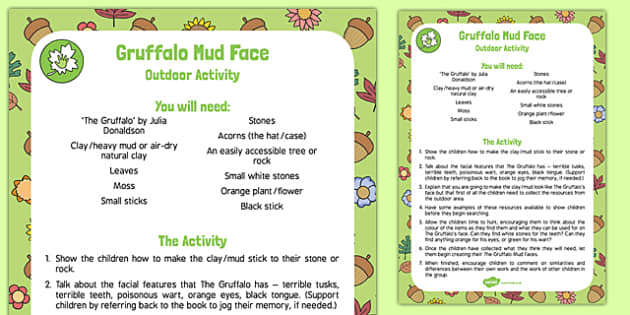 Gruffalo Mud Face Outdoor Activity to Support Teaching on The Gruffalo - woods, story, EYFS, Creative, art, EAD, early years