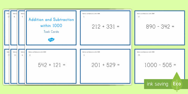 Second Grade Addition and Subtraction Within 1000 Task Cards - second grade, addition, subtraction, 1000, word cards, math, mathematics
